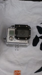 GoPro camera with housing